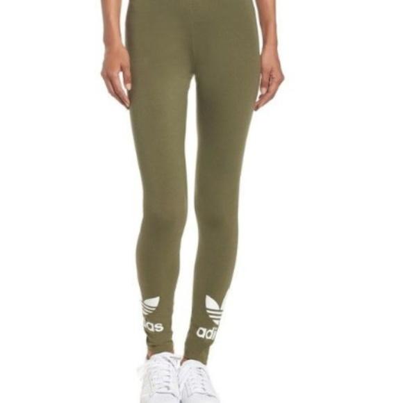cb7d5b84bed4c adidas Pants | Olive Green Trefoil Leggings Size Medium | Poshmark